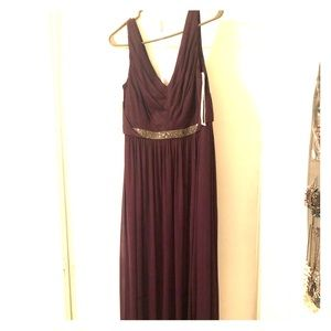 Plum David's Bridal Gown with glitter belt